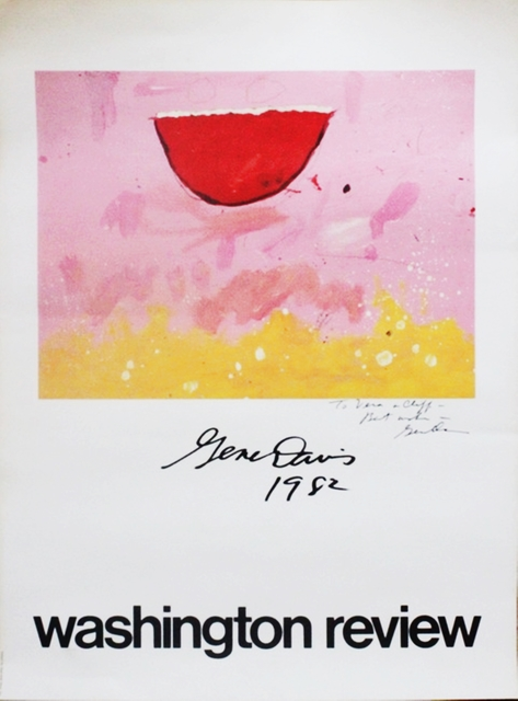 Gene Davis, 'Washington Review Poster - Hand Signed and Dedicated to artist Vera Habrecht Simons', 1982, Ephemera or Merchandise, Rare offset Lithograph Poster. Hand signed and inscribed. Unframed., Alpha 137 Gallery Gallery Auction