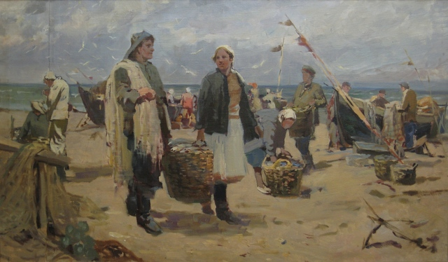 , 'Latvian fishermen,' 1948, Surikov Foundation