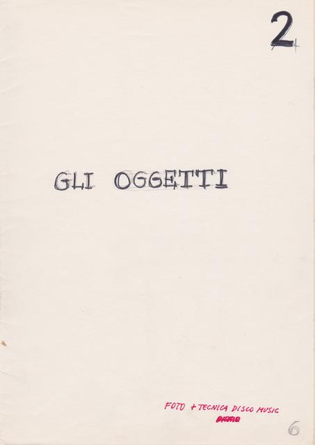 , 'Progetto Libro: Gli Oggetti,' , Beck & Eggeling