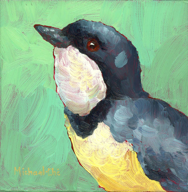"Michael-Che Swisher, '""Working on My Swing"" Oil portrait of a grey and white bird with green background', 2019, Eisenhauer Gallery"
