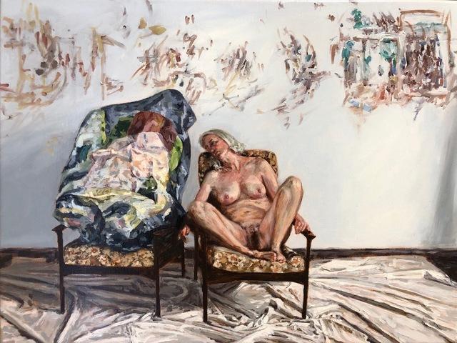 Amanda Davies, 'The artist's model, with crushed Stoner painting', 2019, Bett Gallery