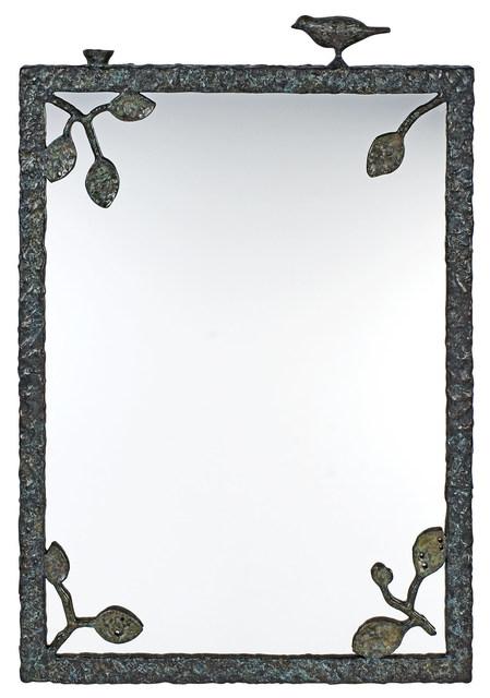 'Diego Giacometti Patinated Bronze Miroir aux Feuilles et Oiseau', Doyle