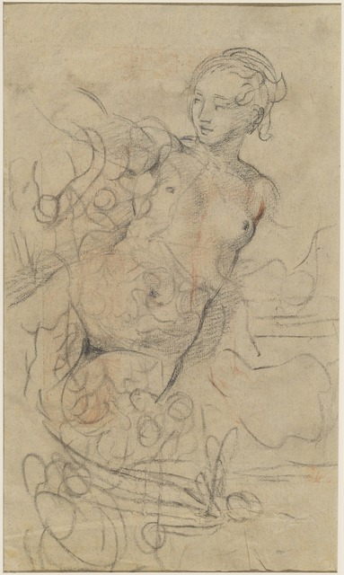 Jean-Baptiste Deshays, 'A Reclining Nude with Her Right Arm Raised over a Swift Composition Study [verso]', ca. 1763, Drawing, Collage or other Work on Paper, Black chalk with touches of red chalk on buff laid paper, National Gallery of Art, Washington, D.C.
