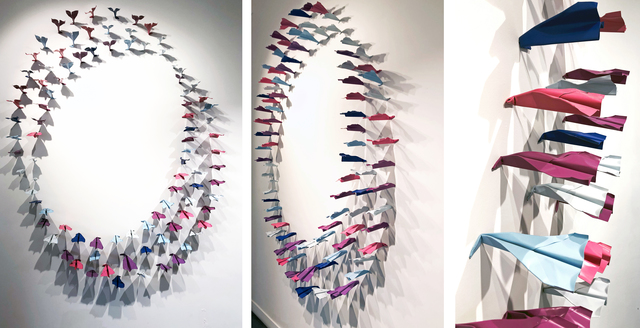 , '100 paper planes simultenously hitting the wall,' 2018, Galerie Vivendi