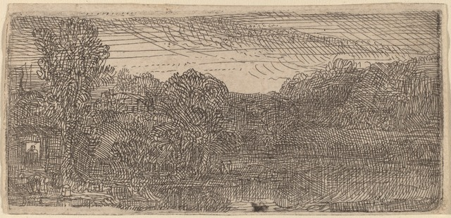 Rembrandt van Rijn, 'Small Gray Landscape: a House and Trees beside a Pool', ca. 1640, Print, Etching, National Gallery of Art, Washington, D.C.
