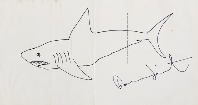 Damien Hirst, 'I want to spend the rest of my life everywhere, with everyone, one to one, always, forever, now', 1997, Books and Portfolios, The book with a shark drawing in black ink to title pages, Forum Auctions