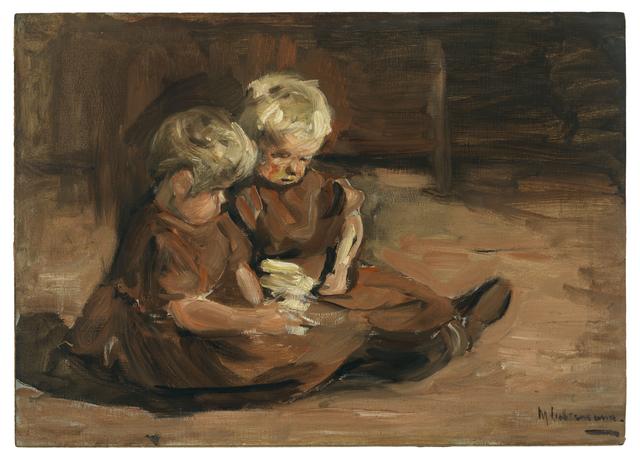 , 'Spielende Kinder in einer Scheune,' 1898, Ludorff