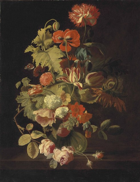 , 'A carnation, iris, roses, tulips and other flowers in a glass vase on a stone ledge,' , Christie's Old Masters