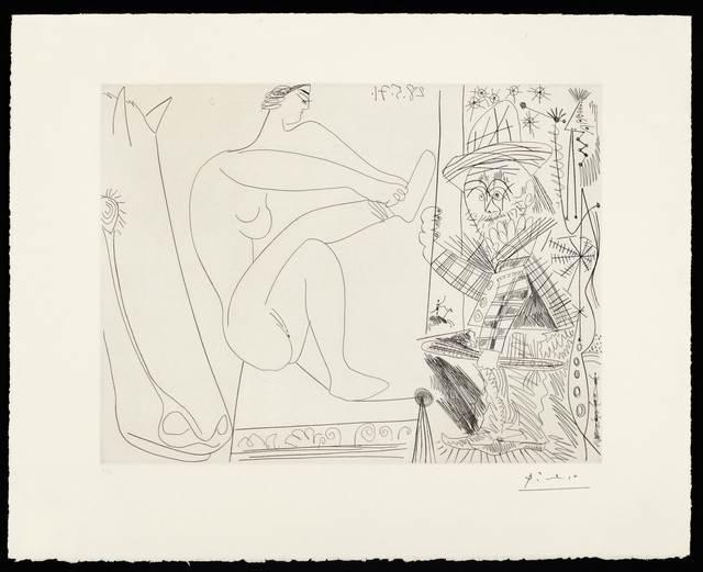 Pablo Picasso, 'Au cirque. Écuyère se chaussant dans les coulisses et clown au trapèze', 1971, Koller Auctions