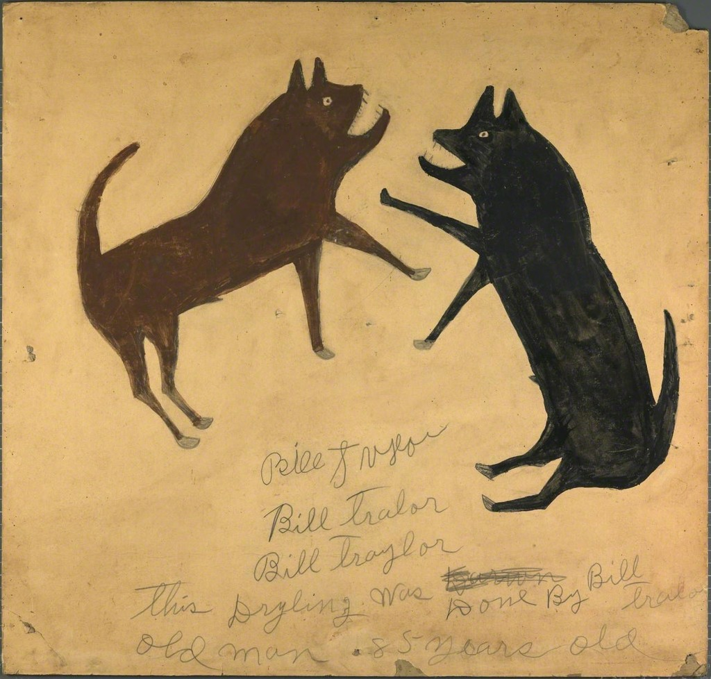 Bill Traylor, Untitled (Dog Fight with Writing), ca. 1939–1940, opaque watercolor and pencil onpaperboard. Smithsonian American Art Museum; Museum purchase through the Luisita L. andFranz H. Denghausen Endowment. Photo by Gene Young