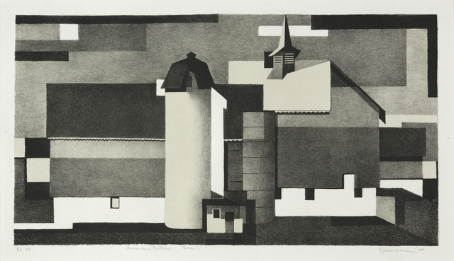 Benton Spruance, 'American Pattern - Barn', 1940, Print, Lithograph printed in tan and black on Rives wove paper, full margins., Catherine E. Burns Fine Prints