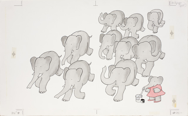 "Laurent de Brunhoff, '""Gray,"" published illustration for Babar's Book of Color,' 1984, Mary Ryan Gallery, Inc"