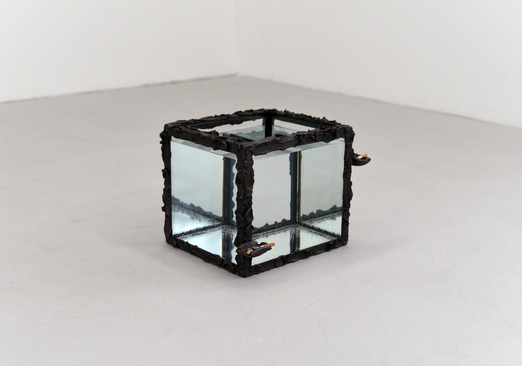 Angelika Loderer, Untitled (Aschenbecher), aeruginous aluminium, glass, water, 2015, 33 x 33 x 38 cm, unique
