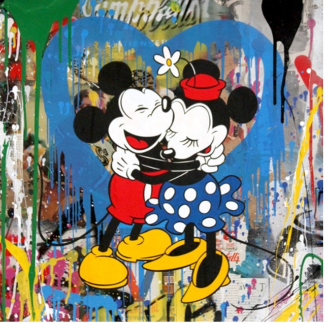 Mr. Brainwash, 'Mickey & Minnie Hug (Blue Heart)', 2017, Denis Bloch Fine Art