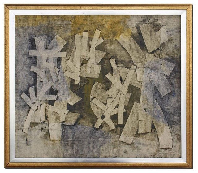 Shanti Dave, 'Untitled Abstract Composition Painting with Collage', 1960-1969, Lions Gallery