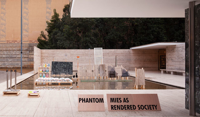, 'Phantom. Mies as Rendered Society. Methacrylate boxes,' 2012, Pepe Cobo
