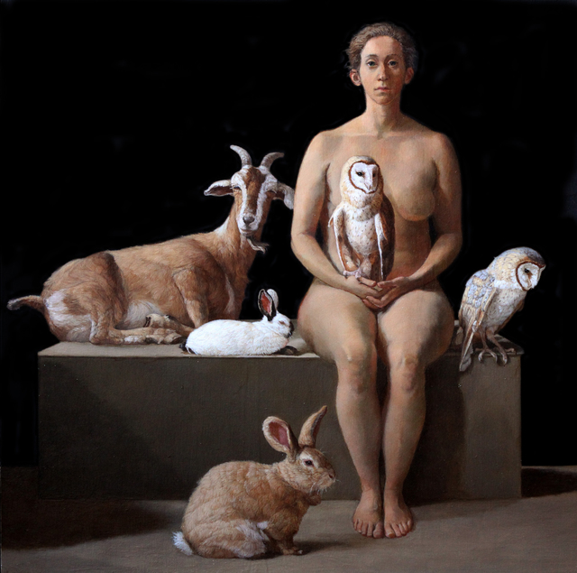 , 'Rescuer with Owls, Rabbits, and a Feral Goat,' 2017, Gallery Henoch