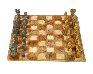 A Mexican oversized ceramic chess set