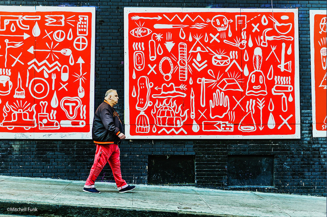 Mitchell Funk, 'Red Wall. Red Pants. Street Art with Local Tenderloin, San Francisco', 2918, Robert Funk Fine Art