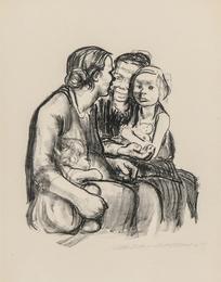 Zwei schwatzende Frauen mit zwei Kindern