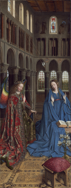 Jan van Eyck, 'The Annunciation', ca. 1434/1436, Painting, Oil on canvas transferred from panel, National Gallery of Art, Washington, D.C.