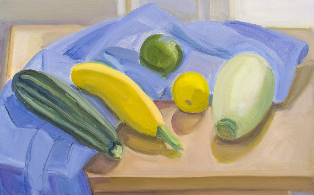 , 'Blue Pillow Case with Squash, Lemon and Lime,' 2016, BCK Fine Arts Gallery at Montauk