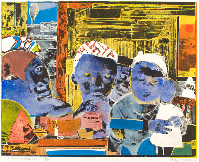 Romare Bearden, '12 Trains - Daybreak Express', 1974, Drawing, Collage or other Work on Paper, Hand colored etching, Alan Avery Art Company