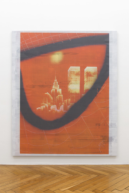 , 'Manhattan Skyline with Twin Towers Reflected in the Eye of Spiderman (4),' 2017, Société