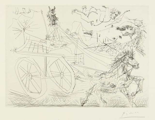 Pablo Picasso, 'Charrette foraine conduite par un petit animal, avec nu et amour dans le ciel (B. 1398; Ba. 1462)', 1966, Sotheby's
