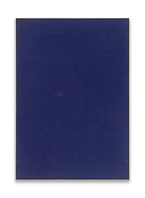 Simon Mullan, 'Blaumänner #77', 2018, Painting, Textile, steel frame, DITTRICH & SCHLECHTRIEM